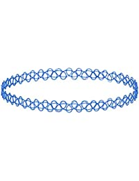 Kaizer Jewelry Shraddha Kapoor Style Vintage Stretchable Fake Blue Tattoo Choker Necklace For Women / Girls (Forever...