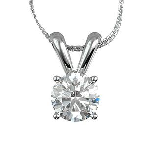14K White Gold Pendant Natural Certified Diamond 1.84 Carat Weight Round Brilliant Cut H SI1 IGL Certificate