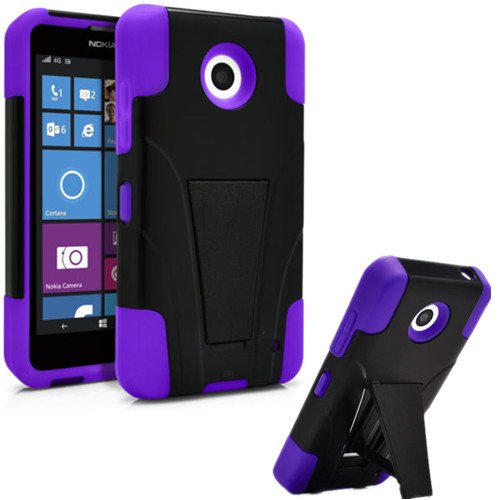 Nokia Lumia 635 Case, Premium Durable Hard&Soft Rugged Shell Hybrid Protective Phone Case Cover with Built in Kickstand【Storm Buy】 (Purple) (Lumia 635 Protective Case compare prices)