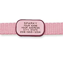 LuckyPet Pet ID Tag: Collar Tag - Attaches flat to any collar - Perfect for Dogs or Cats - Custom Engraved - Durable and Silent! Small-Pink-Rectangle