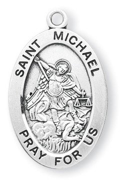 St. Michael Pendant Oval Sterling Silver with Chain