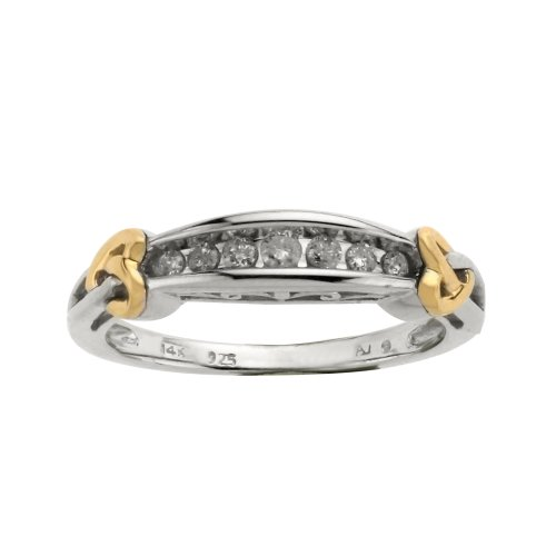 Love Knot Sterling Silver and 14k Yellow Gold Diamond Band with Heart Accent, Size 8