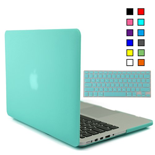 iBenzer® - 2 in 1 Multi colors Soft-Touch Plastic Hard Case Cover & Keyboard Cover for Macbook Pro 13'' with retina display, Turquoise MMP13R-TBL+1