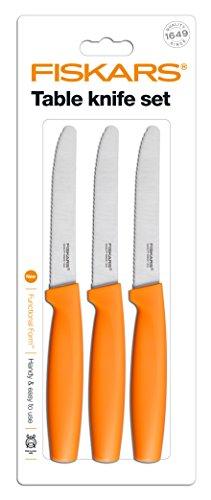 Fiskars 1014278, Set di coltelli da tavolo, 3 pz., colore: Arancione