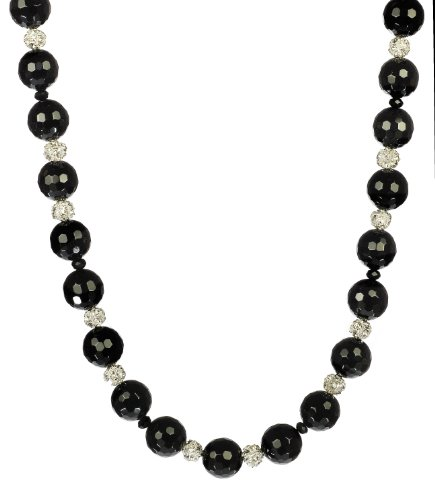 Black Onyx Beads, Fireballs, and Faceted Black Glass Rondelles Necklace 18