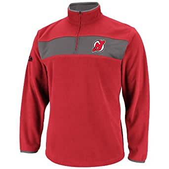 NHL Mens New Jersey Devils Athletic Red/Storm Gray Long Sleeve 1/4 Zip Micro Chiller By Majestic (Athletic Red/Storm Gray, Small)