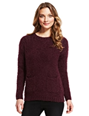 Indigo Collection Textured Fluffy Jumper