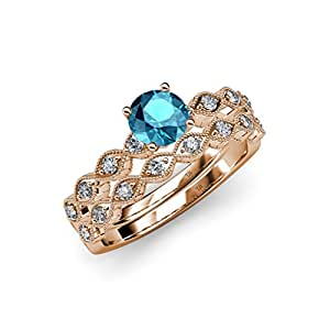 Amazoncom london blue topaz and diamond engagement ring for Blue topaz wedding ring sets