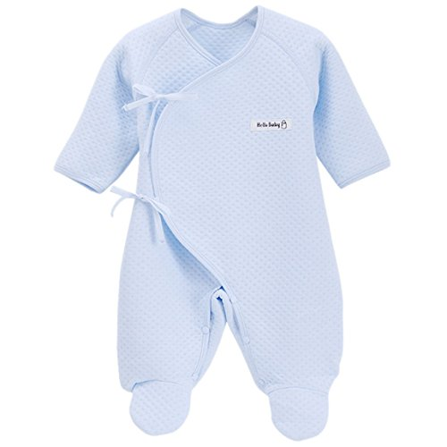 Happy Cherry Infant Baby Cotton Thin Layette Footie Romper Small Blue