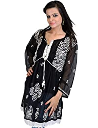 Exotic India Black Kurti With Chikan Embroidered Flowers And Paisleys By - Black