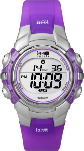 Timex Women's T5K459 1440 Sports Digital Silver/Translucent Purple Resin Strap Watch