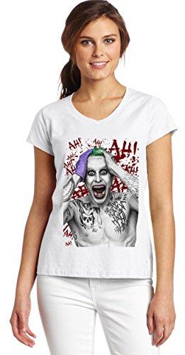 Suicide Squad Jared Leto Joker-Maglietta con collo a V, da donna, con grafica bianco small