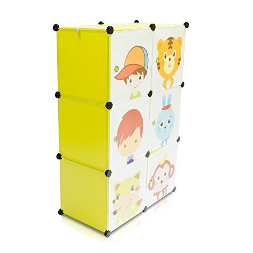 VENKON-Kinderzimmer-Steckschrank-DYI-Steckregal-System-Regalschrank-6-Module-Set-grn
