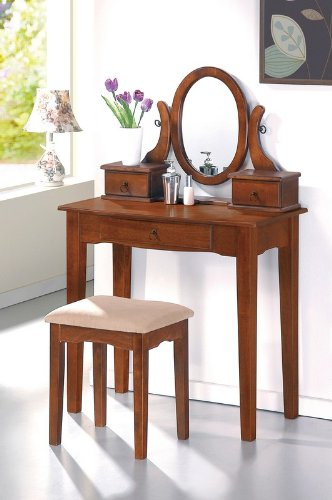 Vanity and Stool Set with Oval Mirror in Walnut Finish