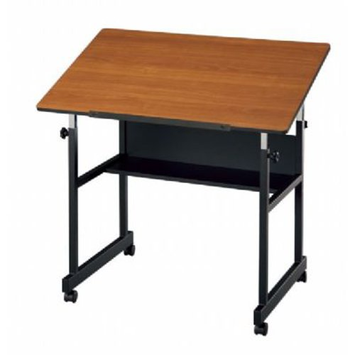 Alvin Home Office Art Drawing Crafting Drafting Hobby Center MiniMaster Table Black Base with Woodgrain Top