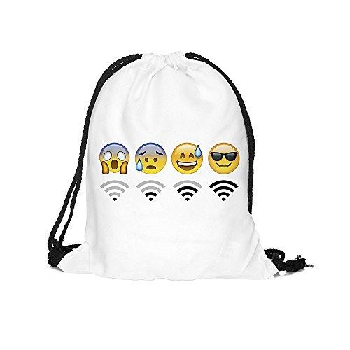 Coulisse borsa, Emoji WiFi motivo Sport Viaggio Zaino Scuola Palestra softback Harajuku Unisex, white1