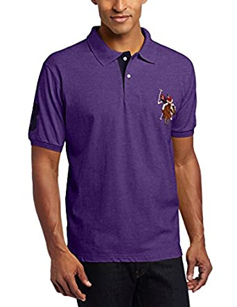 U.S. Polo Assn. Men's Short Sleeve Pique Polo with Multi-Color Pony Logo, Plum Purple Heather, Small