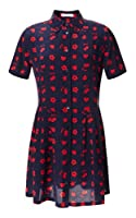 Equipment Naomi Dress in Peacoat and Strawberry Red