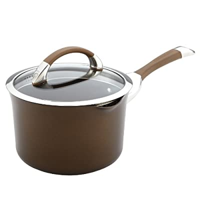 Circulon Symmetry Chocolate Hard Anodized Nonstick 3-1/2-Quart Covered Straining Saucepan