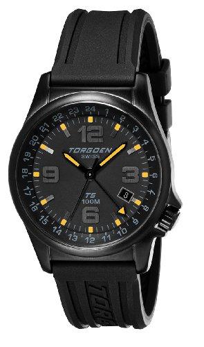 TORGOEN Swiss T05302 - Reloj analógico de cuarzo para hombre, correa de plástico color negro