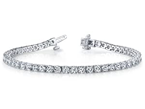 Round Diamonds Tennis Bracelet 3 cttw (7 inches) IGI Certified in 14 kt White Gold from Finejewelers