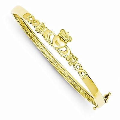 14K Gold 4mm Diamond-cut Claddagh Hinged Bangle Bracelet