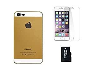 METLY Back cover for Apple IPHONE 5 With Temper Glass and Memory Card 8GB Golden