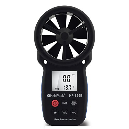 HOLDPEAK 866B Digital Anemometer - THE BEST Wind Speed Meter Measures Wind Speed + Temperature + Wind Chill with Backlight For Windsurfing Kite Flying Sailing Surfing Fishing Etc. Amazon Best seller In Wind Speed Gauges!