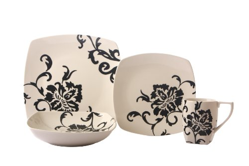 Coventry Floral Scroll Black 16-Piece Dinnerware Set Service For 4 ...