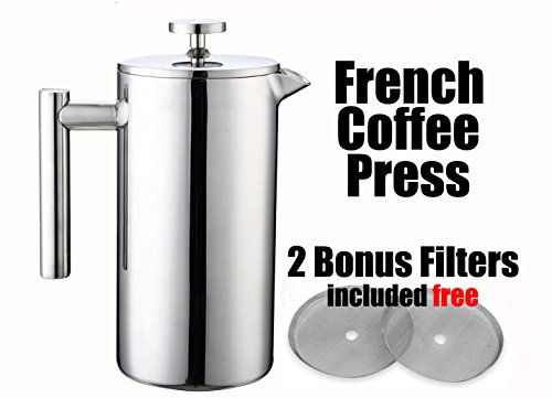 MSRM 34oz / 52oz(1 Liter / 1.5 Liter) European Double Wall Stainless Steel Coffee Press Pot French Press (1L)