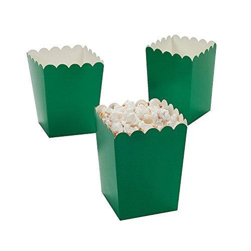 "Mini Green Popcorn Boxes (24 Pack) 3"" x 3"" x 4""."