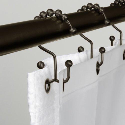 Hooks Shower Curtain Double Glide Bronze Rings Liner Steel Bath Set Rod Bathroom Ebay