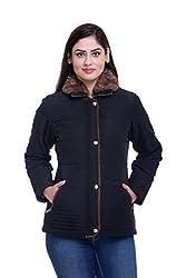 Trufit Full Sleeves Solid Women's Black Fur Collar Polyester Bomber Jacket