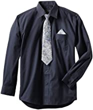 American Exchange Big Boys39 Dress Shirt with Tie and Pocket Square Navy 10