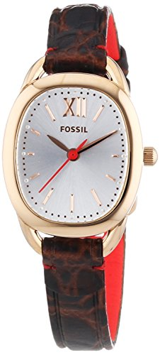 Fossil-ES3605 Women's Quartz Analogue Watch-Brown Leather Strap
