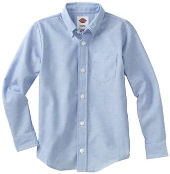 Dickies Big Boys' Long Sleeve Oxford Shirt, Light Blue, Small (6/8)