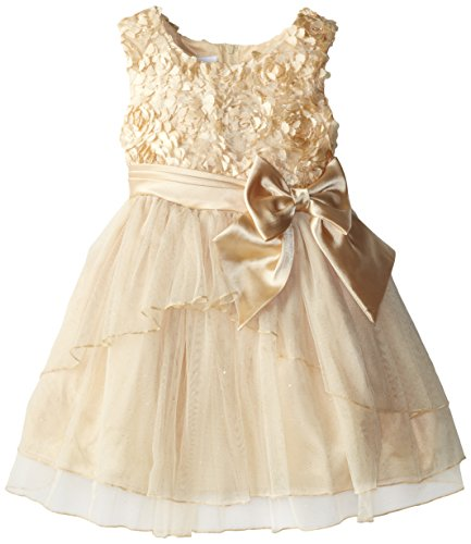 Bonnie Jean Little Girls' Bonaz To Hi-Lo Mesh Layered Skirt, Gold, 6
