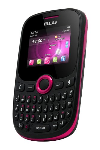 BLU Q53i-PK Samba JR Plus Quadband Phone with QWERTY Keypad, Camera, Bluetooth Facebook,Twitter and MP3/MP4 Player – US Warranty – Pink