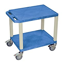 H. Wilson Tuffy Multi Purpose Utility Cart with Chrome Casters Blue and Putty