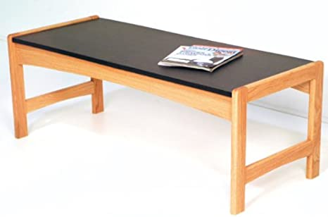 Wooden Mallet DT2-BG Coffee Table with Black Granite Look Top, Light Oak