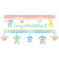 Creative Converting Baby Shower Baby Clothes Giant Party Banner with Attachment, 60-Inch from Creative Converting