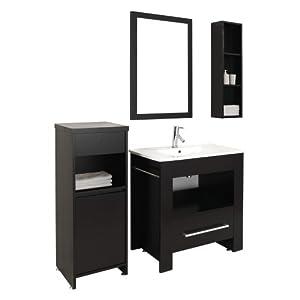 Virtu USA ES-2432-C-ES Masselin 32-Inch Single Sink Bathroom Vanity Set with White Ceramic Countertop, Espresso Finish