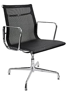 CHARLES EAMES STYLE BLACK MESH OFFICE CHAIR W/GLIDES