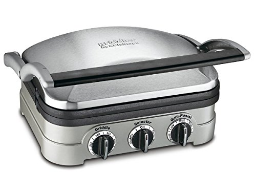 Cuisinart GR-4N 5-in-1 Griddler, Silver, Black Dials (Cuisinart Waffle Griddle Plates compare prices)