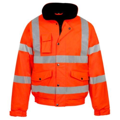 My Shoe Store® da uomo ad alta visibilità ad alta visibilità BOMBER giacca da lavoro da uomo WEAR giaccia imbottita impermeabile con cappuccio giacche Orange Medium