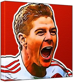 Steven Gerrard - Pop Art Print Multicolour Red Background 30 X 30 X 2 Cm Medium Square Deep Box Canvas by Paintedicons