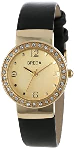 Breda Women's 2368-gold/black Jennifer Rhinestone Mini Bezel Slim Watch