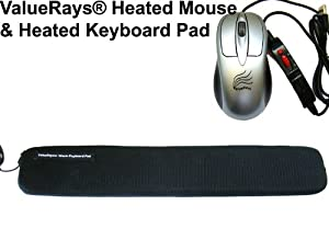 2-piece Set: ValueRays® USB Warm Mouse & USB Warm Keyboard Pad, Heated Keyboard Pad, Heated Mouse, Warm Mouse, Heated Computer Mouse, Warm Computer Mouse, Ergonomic Keyboard Pad, Keyboard Wrist Rest, Ergonomic Mouse, Infrared Heating Pad, USB Hand Warmers, ValueRays