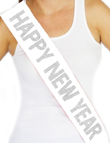 RhinestoneSash.com Women's Happy New Year Rhinestone Sash Large White