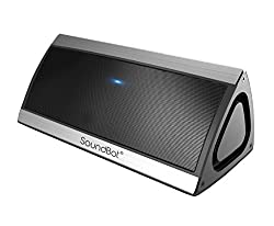 SoundBot SB520 3D HD Bluetooth 4.0 Wireless Speaker for 15 hrs Music Streaming & Hands-Free Calling w/ Passive sub woofer, 5W + 5W 50mm Driver Speakerphone, Built-in Mic, 3.5mm Audio Port, 2200mAh Lithium-ion Rechargeable Battery for Indoor & Outdoor Use (Silver)